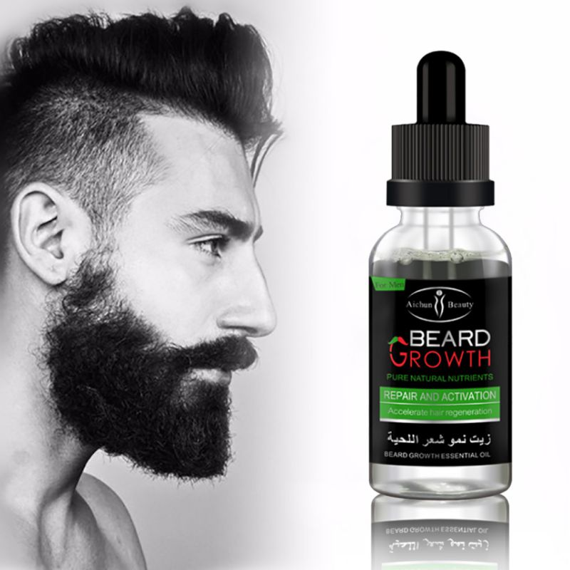 100% Natural Organic Men Beard Growth Oil Beard Wax balm Hair Loss Products Leave-In Conditioner for Groomed Beard Growth 30ml 3