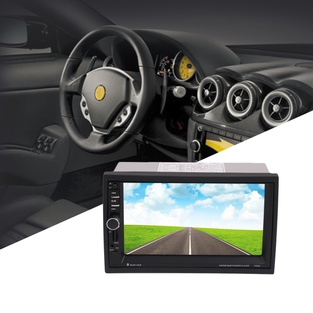 Hot 7020G Car Bluetooth Audio Stereo MP5 Player with Rearview Camera 7 inch Touch Screen GPS Navigation FM Function With Camera 2017 hot bluetooth multi function audio intelligent family host background music system lcd screen touch light dimmer 2 speakers