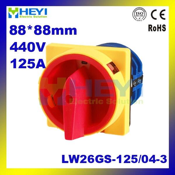 Commutateur rotatif LW26GS-125/04-3 commutateur de verrouillage 125A 440 V commutateur universel