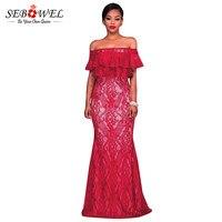 SEBOWEL Plus Size Lace Gown Slit Party Dresses 2018 Red Dress Large Woman Large Size Vestidos