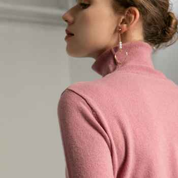 Trend Colors Women 100% Real Merino Wool Turtleneck Pullover Sweater Women\'s Solid Rib Collar Sweaters Knit Top Female Jumper