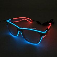 41d6c7970c ¡Oferta! gafas brillantes de doble color parpadeantes alimentadas por EL  cable DC-3V, gafas LED de luz fría, decoraciones locas .