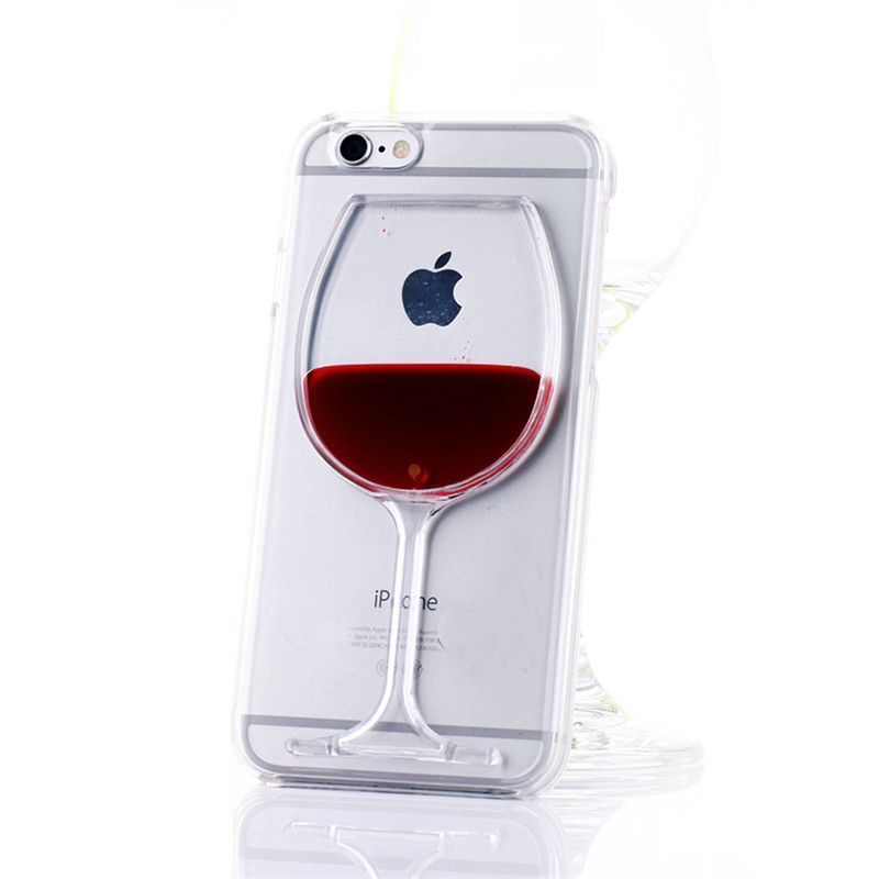 For iPhone 7 Phone Case Red Wine Glass Clear Liquid Quicksand Transparent Hard Back Cover for iPhone 7 6S 6 Plus 5C 5 5S SE 4 4S