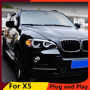 Image 2 - KOWELL Car Styling For BMW X5 e70 2007 2013 Headlight for BMW X5 Head Lamp Auto LED DRL Double Beam H7 HID Xenon bi xenon lens