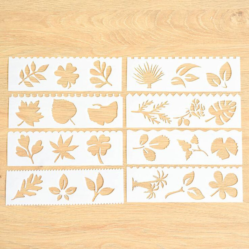 8pc Leaves Openwork Painting Template Embossing DIY Bullet Journal Accessories Template Stencils For Scrapbooking Decor Reusable