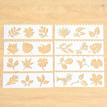 8pc Leaves Openwork Painting Template Embossing DIY Bullet Journal Accessories Template Stencils For Scrapbooking Decor Reusable 1pc stencils bullet journal gthrush bird painting template diy embossing stencils accessories for scrapbooking stencil reusable