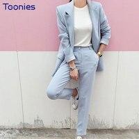 Women Fashion Blazers Suit Casual Loose 2pcs Set Elegant Office Lady Blazers Sets Big Sizes Blue