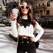 WYHHC 2018 Autumn winter sweater Sexy lace splice knitted sweater Women elegant twist white pullover sweater female pullovers(China)