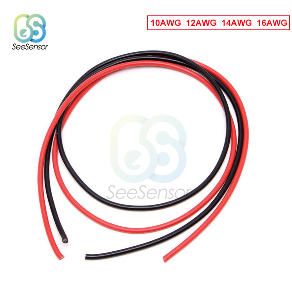 1meter Black +1meter Red <font><b>10</b></font>/12/14/<font><b>16</b></font> Gauge AWG Electrical Wire Tinned Copper Insulated Silicone Extension LED Strip Cable image