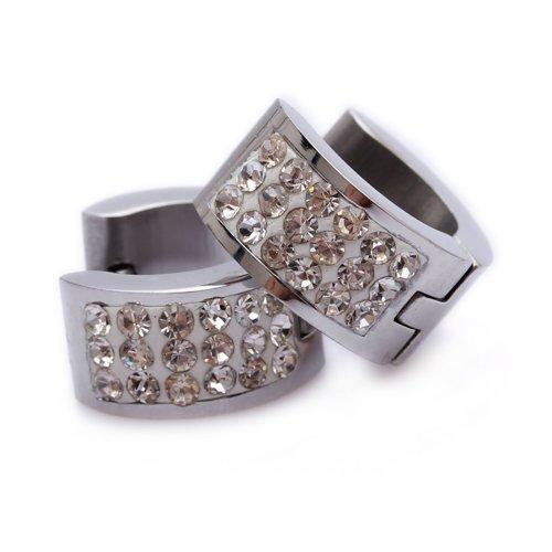 Clear Crystal Stainless Steel Stud Hoop Mens Earrings E151