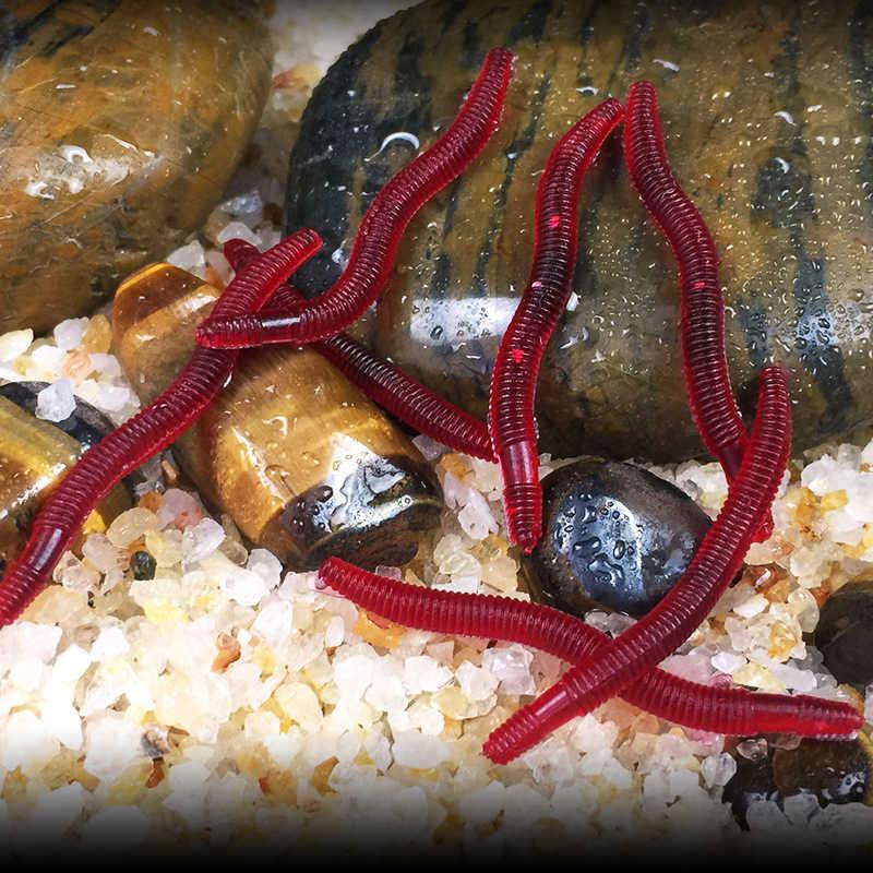 GLUREE 1 stks Regenworm Zachte Vissen Lokt 0.2g 3.5 cm Zachte Rode Worms Kunstmatige Baits Levensechte Regenworm Karper Vissen visgerei