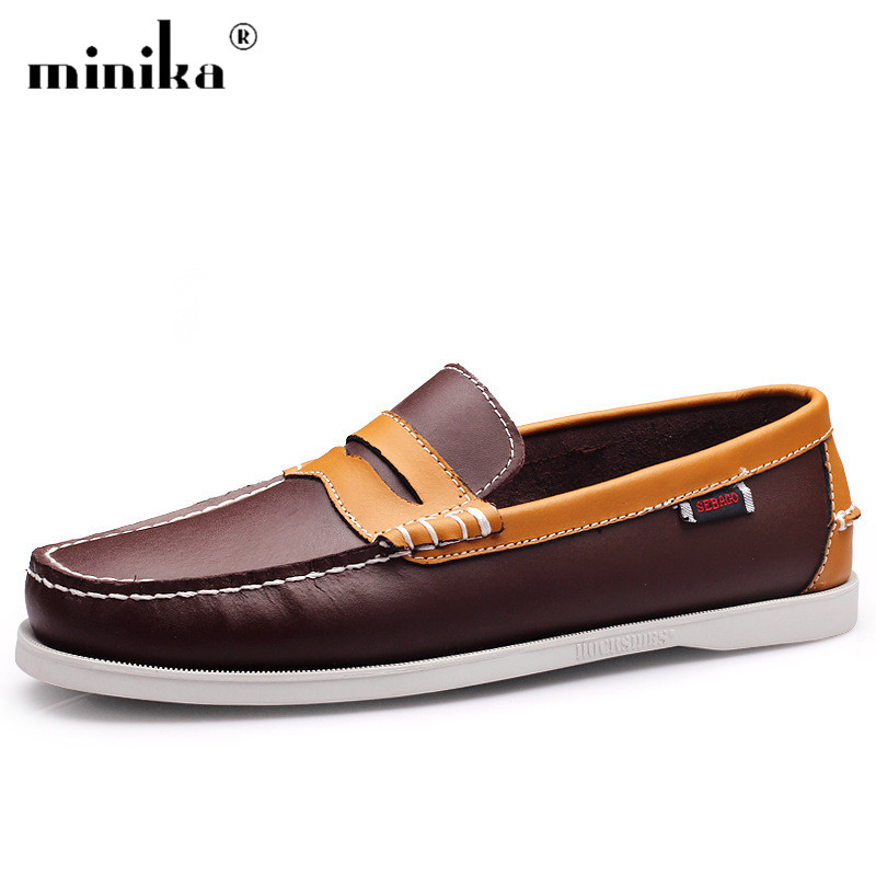 Men 's Casual Genuine Leather Stitching Fashion Flat Walking Boat Driving Men Shoes Slip On Loafers dadawen boy s girl s slip on loafers oxford shoes