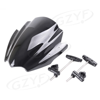 Universal Black ABS Windshield Windscreen For Motorcycle w/ 7/8 or 1 Handlebar