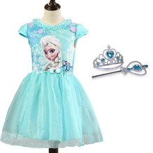Queen Elsa Dresses Kids Girl Costumes Princess Anna Dress for Girls Party Vestidos Fantasia Child Clothing Elsa Set(China)
