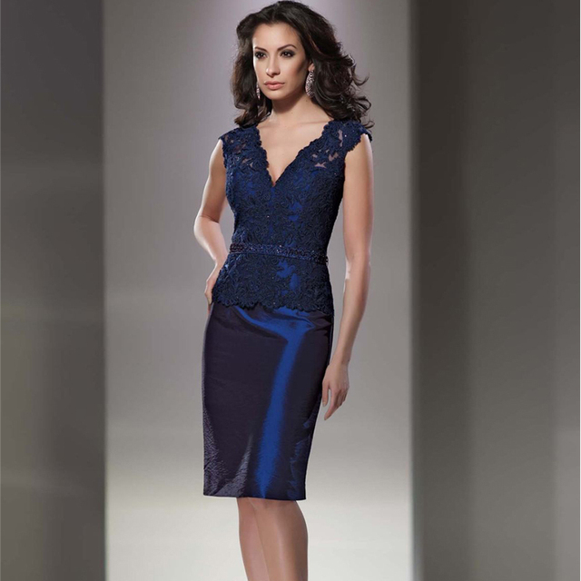 5a82362e08a Elegant Knee Length Lace Party Dress Navy Blue Taffeta Short Mother Of The Bride  Lace Dresses