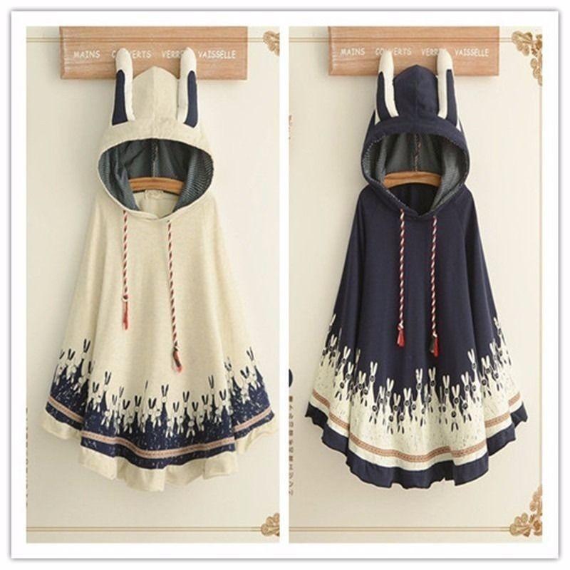 Takerlama 1pc Lolita Girls Rabbit Ears Hoodie Loose Kawaii Cape Spring Fall Coat Cotton Casual Cloak Outerwear 5