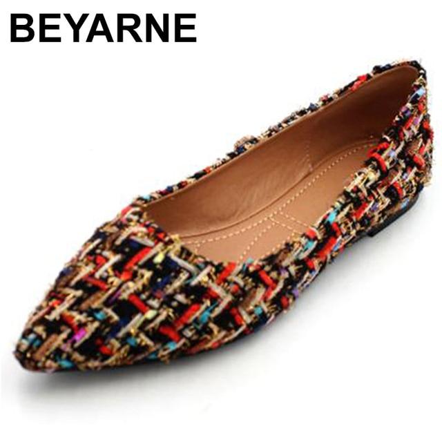 BEYARNE zapatos de marca de moda para mujer, zapatillas femeninas de tacón plano colorido con punta estrecha, náuticos, 2019
