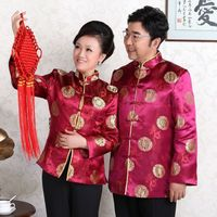 Gold Satin Blouse Style Chinois Chinese Traditional Woman Tops Winter Coat China Lovers Dress Longevity Wedding