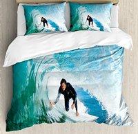 Ride The Wave постельное белье Surfer внутри волны океана Приключения адреналина энергии, море Sports Picture 4 шт. Постельное белье