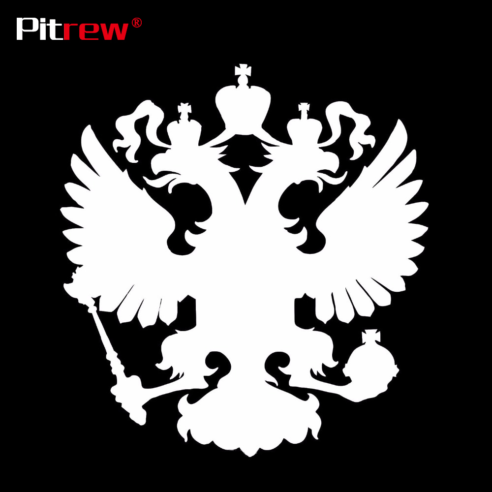 PITREW 15*14.1CM Coat of Arms of Russia Car Stickers Decals Russian Federation Eagle Emblem for Car Styling Laptop Sticker