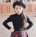 Nova Chegada Lindo Sopro Manga Camisola de Gola Alta Meninas Crianças Velo Assentamento Camisa Bege Preto
