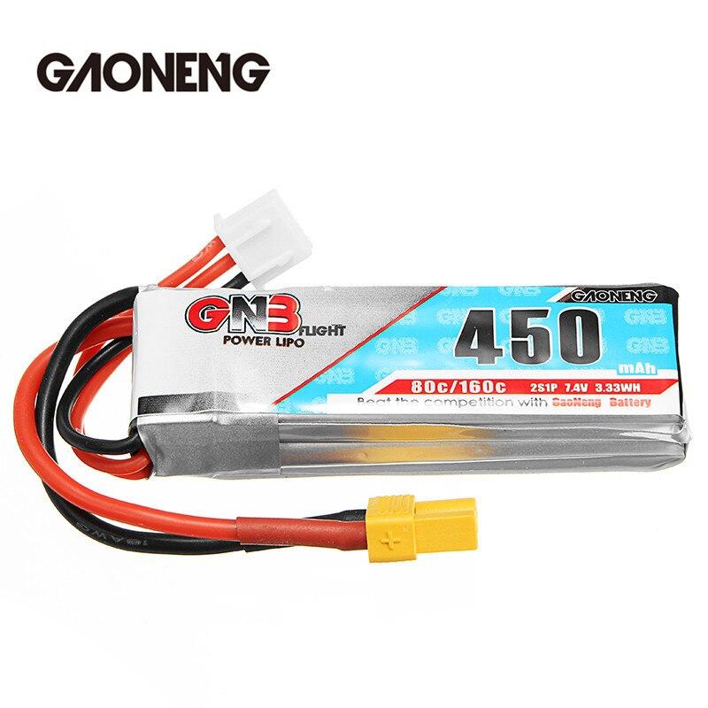2018 Dernière Gaoneng GNB 7.4 V 2 S 450 MAH 80C Rechargeable Lipo Batterie XT30 Plug Connecteur Pour RC Racing Drones FPV Quadcopter