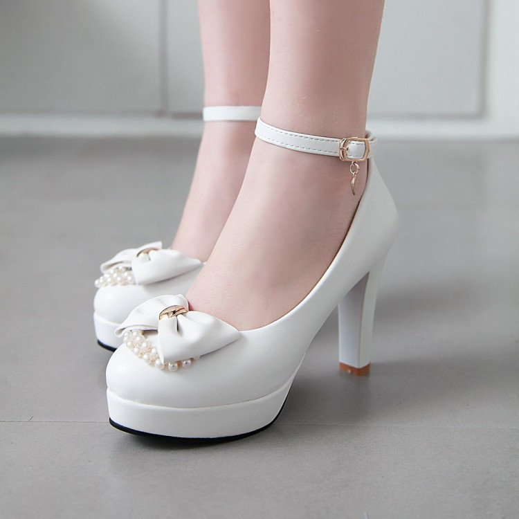 PXELENA Bowknot Pearl Bride Wedding Shoes White Lolita Princess Evening Dress Party High Heel Pumps Women 2019 Plus Size 34-43