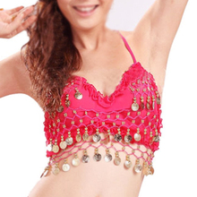 e90e029d2a9ec HNSD 2017 NEW hand made Sexy Folded lace Coins Belly Dance Bra Top Hot Pink