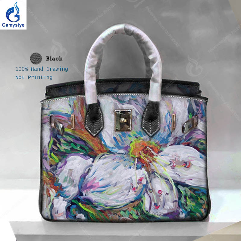 Gamystye 2018 New Fashion Woman Bags Flower Pattern Hand Bag Top Quality Genuine Leather Messenger Bag Casual Totes sac a main Y women top handle bags yellow real genuine leather hand bags hand painted graffiti totes with hardware sac a main messenger bag y