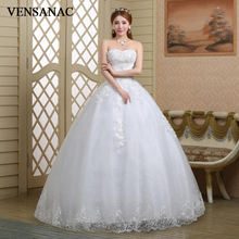 VENSANAC Sequined Strapless Ball Gown 2018 Lace Wedding Dresses Off The Shoulder Appliques Backless Bridal Gowns цена и фото