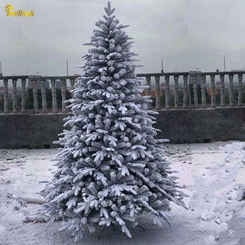 Teellook 1.2 M/3.0 M flocage arbre de noël PE + PVC grand blanc artificiel flocon de neige paysage arbre ornement de noël