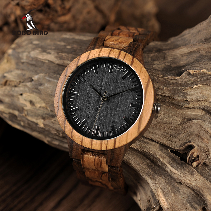 relogio masculino BOBO BIRD Wood Men Watch Zabra Wooden Timepieces font b Quartz b font Watches