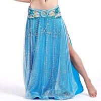 Faldas para mujer 1 unidades ( falda ) danza del vientre punto brillante faldas gitanas Blusa Colant abrir tenedor largo falda sirena envío gratis