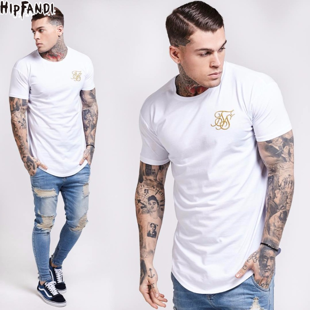Men summer Fashion Kanye West Sik Silk Men Casual Hip Hop T-shirts Irregular Curved Hem Short Sleeved T-shirts Black White gray ...