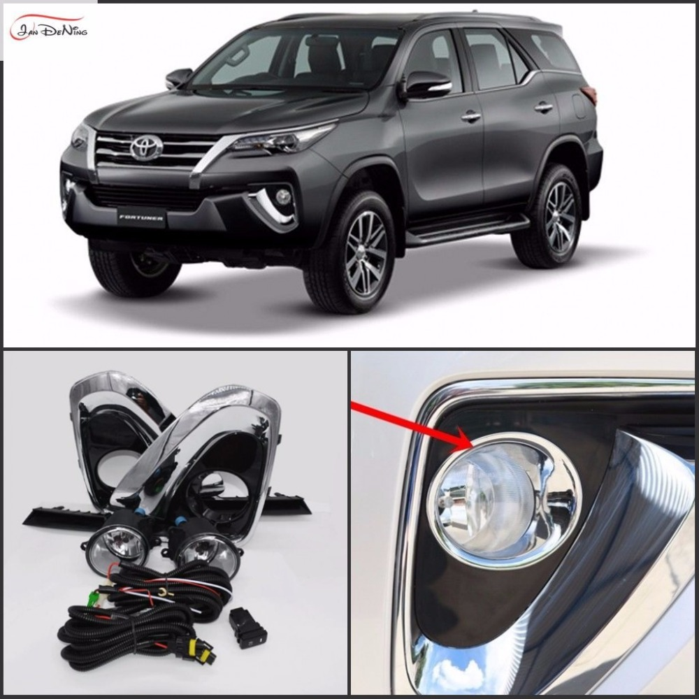 JanDeNing Car Fog Lights for Toyota fortuner 2016/TOYOTA HILUX SW4 Halogen bulb H11-12V 55W Front Fog Lights Bumper Lamps Kit for opel astra h gtc 2005 15 h11 wiring harness sockets wire connector switch 2 fog lights drl front bumper 5d lens led lamp