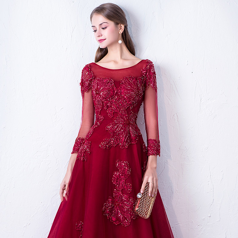 Abendkleider 2018 Գինու կարմիր երեկոյան զգեստ - Հատուկ առիթի զգեստներ - Լուսանկար 5