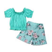 Toddler Baby Girl Solid Green Off Shoulder Tops Floral Short Pants Outfits Clothes Set Worth the Wait Coming Home Infant