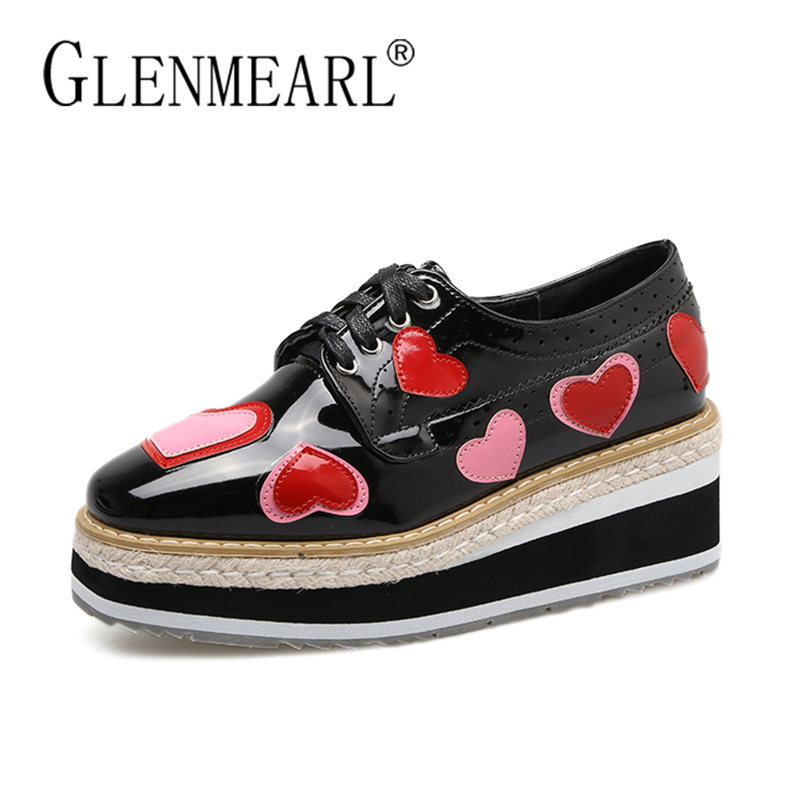 Platform Women Flats Brand Harajuku Shoes Patent leather Thick Bottom Lace Up Black Fashion Casual Female Flats Shoes Woman n11 brand 2017 spring women platform shoes woman brogue patent leather flats lace up footwear female flat oxford shoes for women