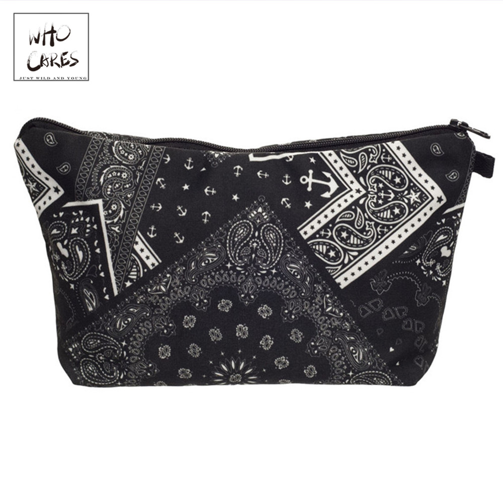 Who Cares Fashion Printing Black Amoeba Makeup Bags Cosmetic Organizer Bag Pouchs For Travel Lady Pouch Women Cosmetic Bag