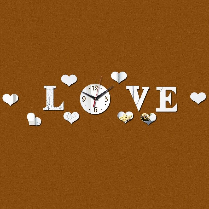 2015 promoção espelho acrílico 3d amor geométrica Modern adesivos de parede Quartz mecanismo de relógio sala decoração frete grátis