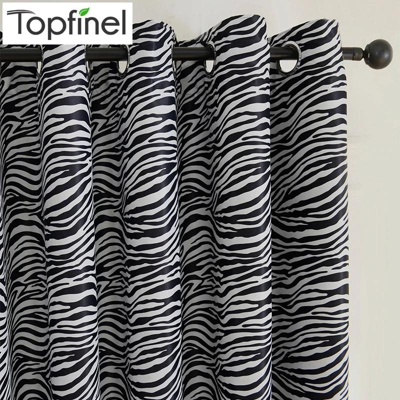 top finel noir et blanc zebre impression panneau de rideau pour salon chambre rideaux occultants rideaux fenetre panneau large style nouveau