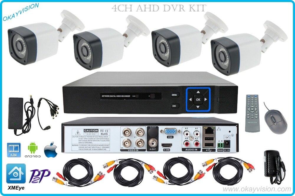 4ch OUTDOOR P2P H.264 AHD DVR KIT with 4CH HDMI VGA AHD DVR Metal 720P HD Surveillance Security ahd Camera System WITH XMEye app
