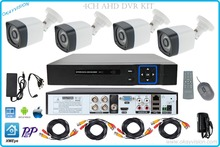 4ch OUTDOOR P2P H.264 AHD DVR KIT with 4CH HDMI VGA AHD DVR Metal 720P HD Surveillance Security ahd Camera System WITH XMEye app