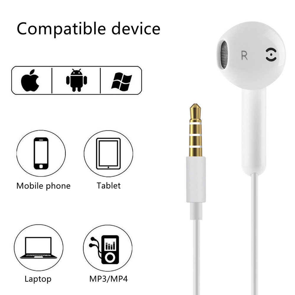 3.5MM Wired Headset Earbuds Headphone Noise Cancelling Stereo Heave Bass Earphones HIFI Microphone Mic Volume Control For iPhone 9
