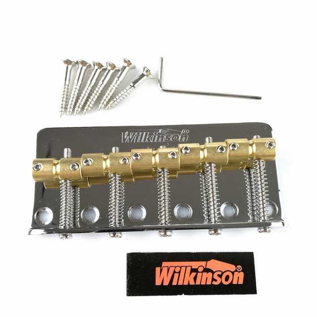 Wilkinson WBBC5 Five 5 Strings Electric Bass Bridge With Brass Saddles For Precision Jazz Bass Chrome Silver Black