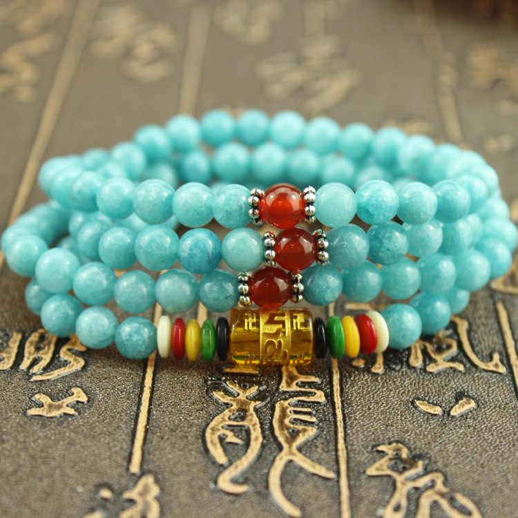Chakra 108 Màu Xanh Amazonit đá Vòng Đeo Tay Yoga Thiền Multilayer Đá Tự Nhiên Năng Lượng Vòng Đeo Tay Cho Phụ Nữ và Nam Giới