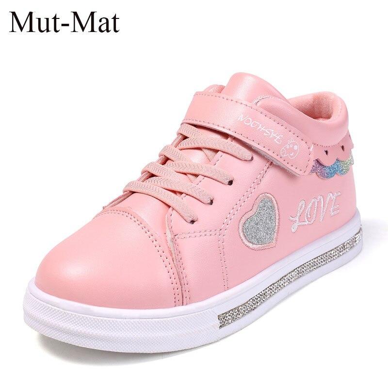 2019 Spring  New Kids Shoes For Girl Toddler Slippers Tenis Infant Children Sneakers White Heart Shape Love Baby Shoe