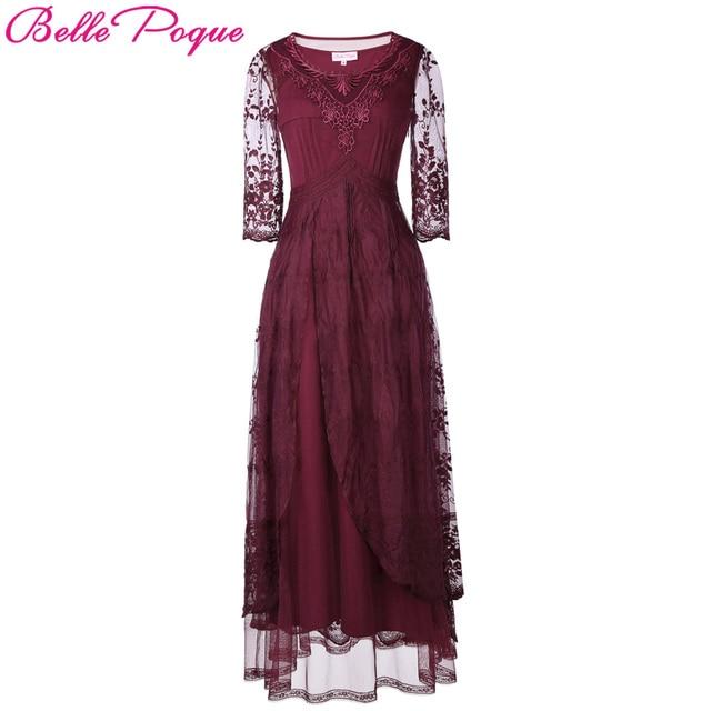 Belle Poque Elegant Retro Vintage Wine Long Maxi Dresses 2018 Summer 3 4  Sleeve Lace Medieval Victorian Women Gothic Punk Dress b8fed7e8c5a8