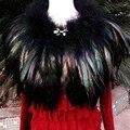 De lujo Caliente Del Invierno Brillante Pluma Nupcial Chales 2017 Negro Abrigo de Piel Bolero Encogimiento de hombros de la Boda Del Cabo Del Abrigo de La Boda Accesorios de La Boda