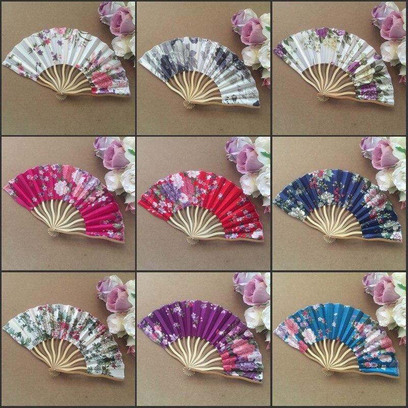 무료 배송 30pcs / lot 모듬 색상 & 꽃 디자인 중국어 손 팬 실크 직물